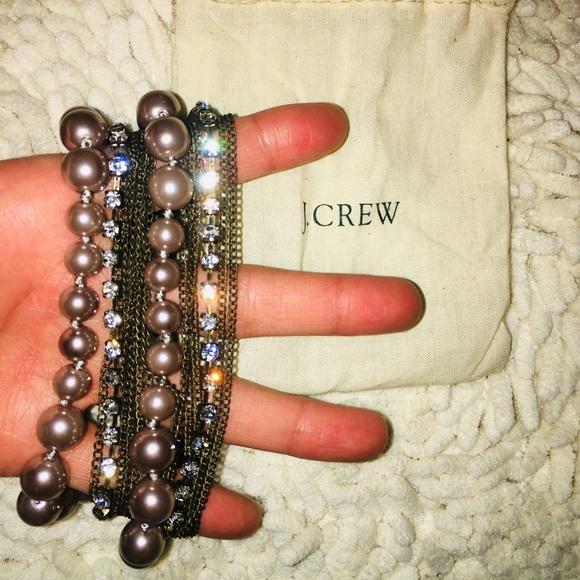 J. Crew Jewelry - 🎁J.Crew Faux Pearl/Rhinestone Bracelet